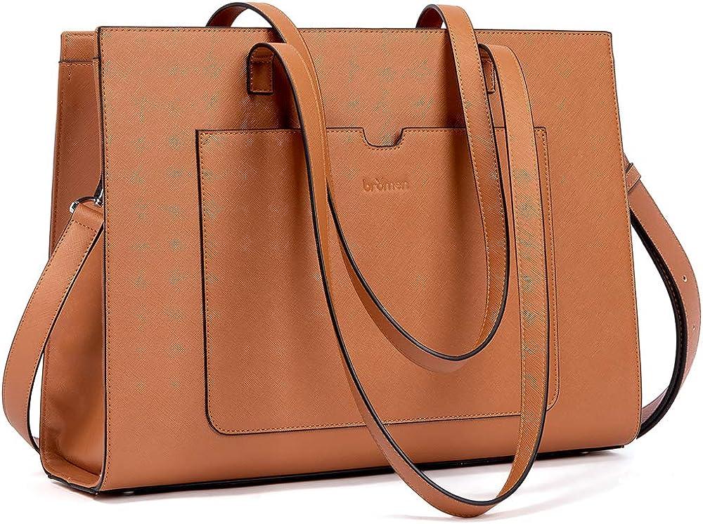 Bromen, elegante borsa/valigetta per donna, in vera pelle, marrone