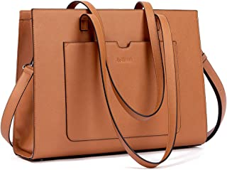 BROMEN Laptop Tote Bag 15.6 inch Briefcases for Women Stylish Business Office Work Tote Bag brown