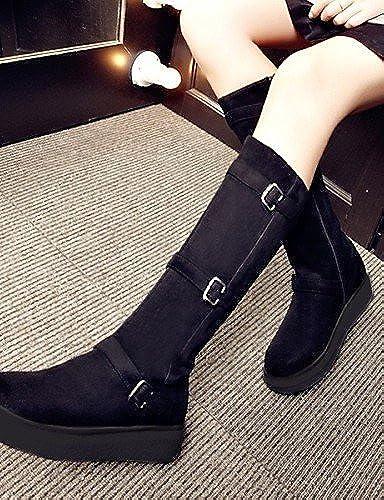 XZZ  Chaussures Femme - Habillé   Décontracté - Noir   gris - Plateforme - A Plateau   Bout Arrondi   Bottes à la Mode - Bottes -Laine