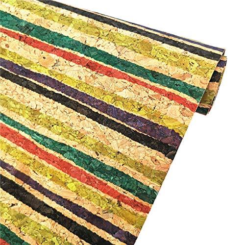 ZAIONE - Rollo de 21 cm x 130 cm, fino y suave impreso, color natural, piel de corcho real, tela ligera, para manualidades, funda para teléfono, cubierta de tela metálica (rayas de colores)