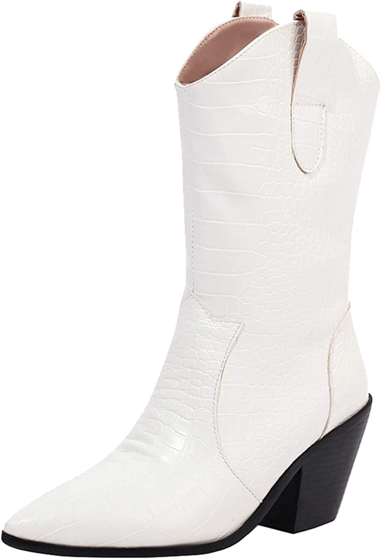 ZeniRuec Women Western Cowboy Cowgirl Bootie Pull On Fashion Mid Calf Boots…