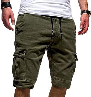Realdo Mens Solid Shorts, Slack Loose Elastic Waist Casual Fitness Pants