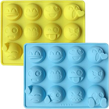Emoji Chocolate Mold 2 PCS Emoticon Shaped Candy Making Molds Cute Silicone Baking Mould Ice Cube Tray Mini Pudding Gummy Maker (2 PCS Large Emoji)