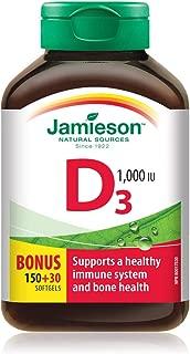 Jamieson Vitamin D 1,000iu Soft Gels Bonus 180 Count