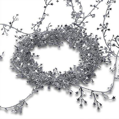 Silver Small Star Garland Christmas | Length - 30 ft.