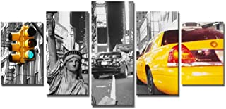 NY Canvas Wall Art, SZ 5 Piece New York City Street Yellow Taxi Picture, Urban Print on Canvas for Bedroom, Ready to Hang, 1