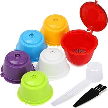 Letilio Filtros Cápsulas de Café Multicolor para Dolce Gusto Cafetera Fuerte al Menos 160 Veces de usos para reemplazo,6 pcs con 1 cucharón de plástico y 1 Cepillo de Limpieza…