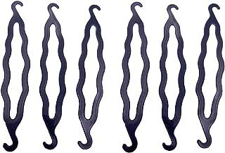 6PCS Black Plastic Bun Maker Curler Double Hook Hair Styling Crooked Hairpins Donut Bun Head Hair Twist Braid Hairdressing...