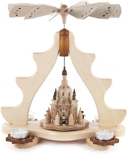 Dregeno Seiffen Pyramide avec Dresde Frauenkirche, bois, naturel, 32x 20x 35cm