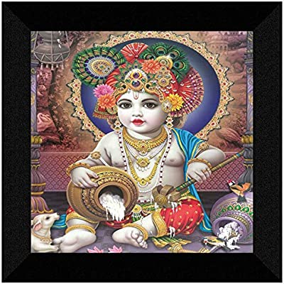 SAF Kanha UV Textured Home Decorative Gift Item Framed Painting 12 Inch X 12 Inch SANFN139