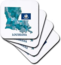 3dRose CST_192448_3 Flag and Map of Louisiana with Each Parish Labeled and Colored Ceramic Tile Coasters, Set of 4