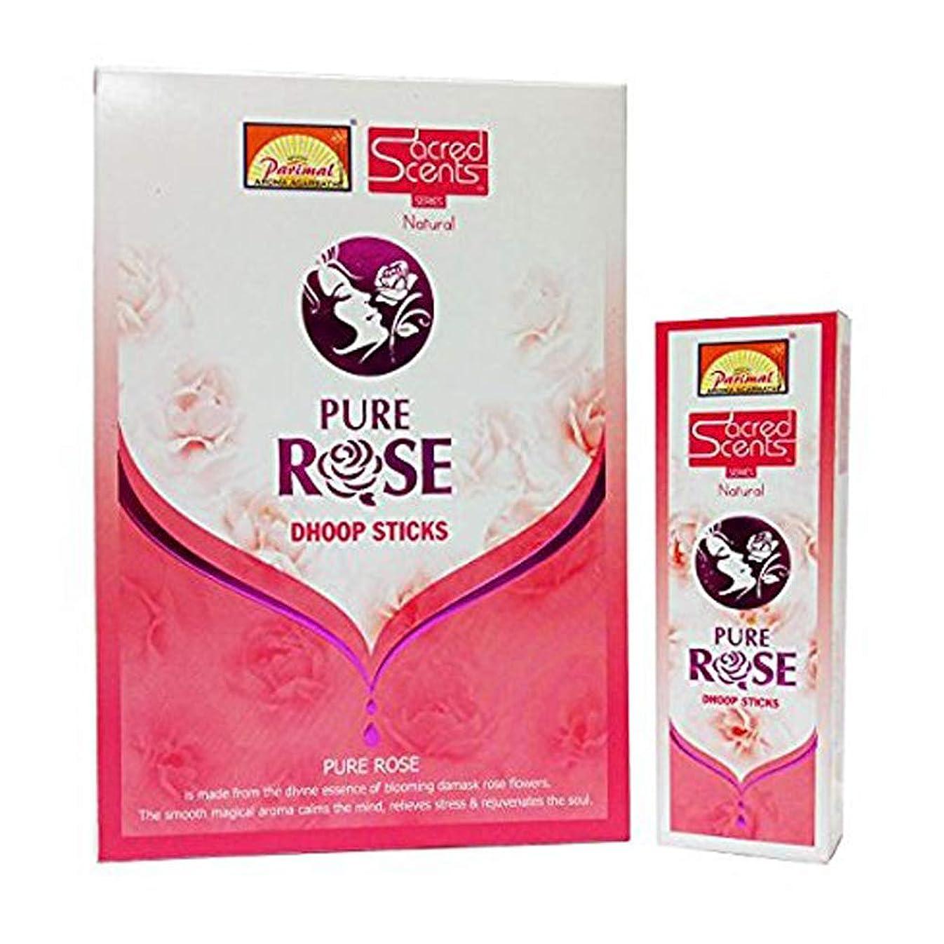 シードまたはどちらかトロリーParimal Sacred Scents Pure Rose Dhoop Sticks 50グラムパック、6カウントin aボックス
