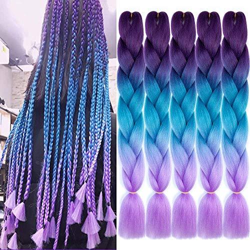 MRTOUMO 5Pcs Braiding Hair Ombre Kanekalon Jumbo Braids Synthetic Braiding Hair Extension for Twist Braiding Hair (24' Purple-Lake Blue-Light Purple)