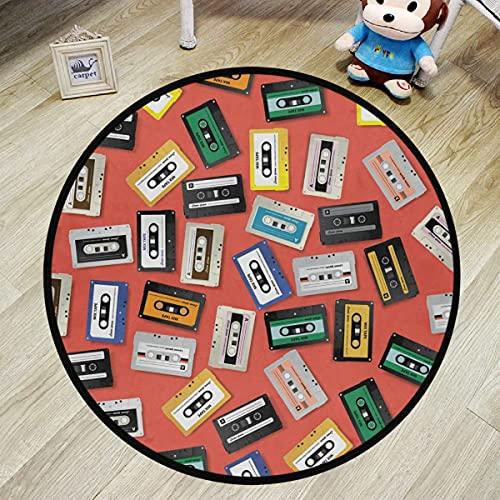Alfombra de área redonda Alfombra circular - Cinta de casete antigua Música Alfombras circulares antideslizantes coloridas Alfombra lavable y cómoda para la guardería Diámetro de la almohadilla circul