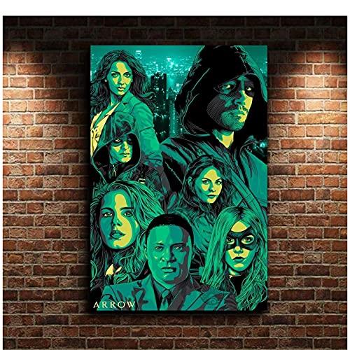 Arrow Minimal Artwork Tv Series Movie Canvas Poster Wall Art Print Decoración para niños Decoración para el hogar Impresión en lienzo-Varios tamaños (enmarcado / sin marco)