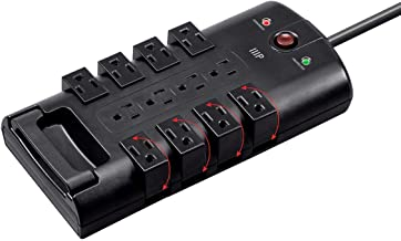 Monoprice 12 Outlet Rotating Surge Protector Power Block/Strip - Black -10ft Heavy Duty Cord | UL Rated, 4,320 Joules with Grounded and Protected Light Indicator