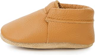 Fringeless Genuine Leather Baby Moccasins - Boys and Girls Shoes for Infants, Babies, Toddlers