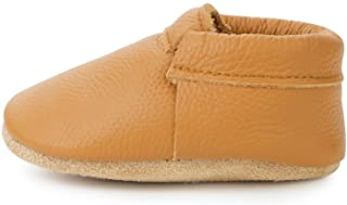 BirdRock Baby Fringeless Moccasins - Genuine Leather Boys and Girls Shoes for Newborns, Infants, Babies, Toddlers