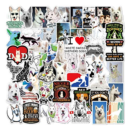 ZXXC Cute White Swiss Shepherd Dog Animals Sticker Waterproof Skateboard Luggage Guitar Kids Vsco Decal Graffiti Stickers 50Pcs