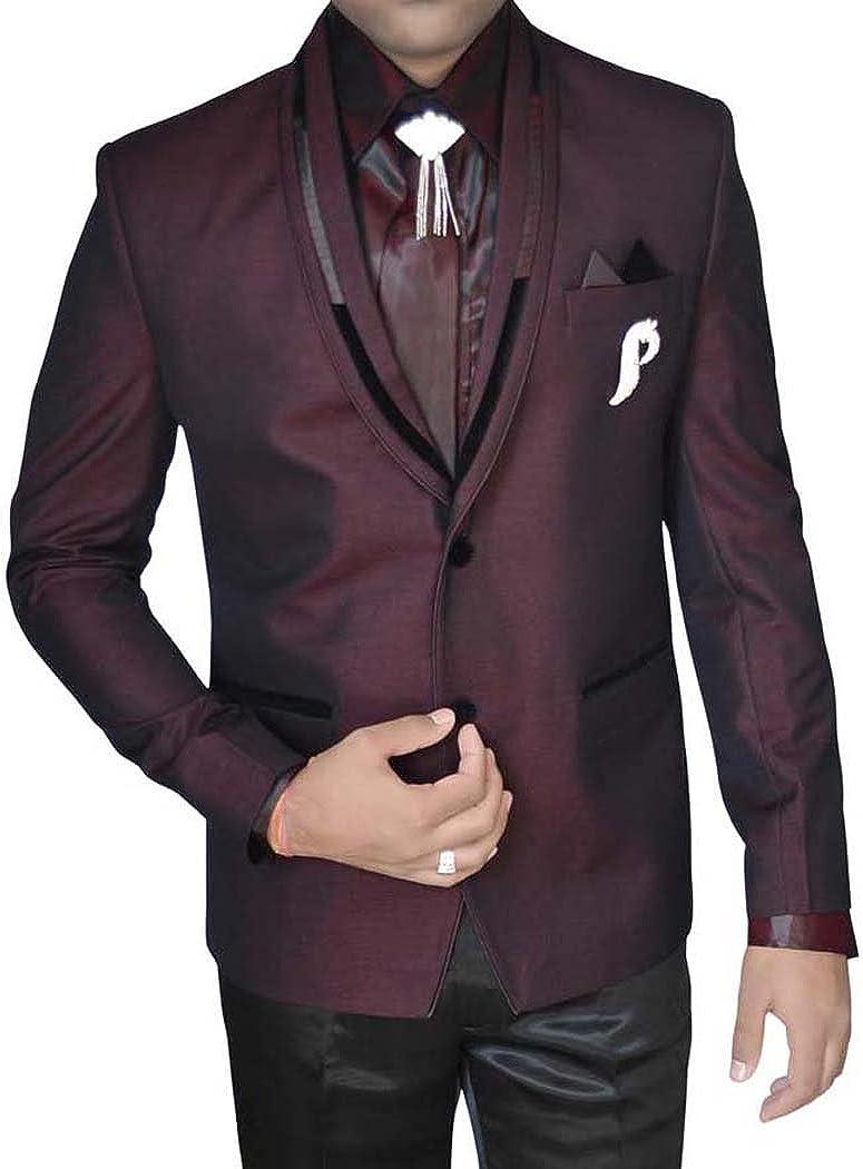 INMONARCH Mens Wine 7 Pc Tuxedo Suit Polyester TX11312XL48 48 X-Long Wine