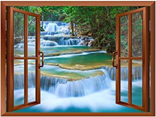 wall26 - Cascading Waterfalls in Tropical Forest Removable Wall Sticker/Wall Mural - 36