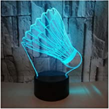 3D Optical Illusion LED Lamps Night Light,Amazing 7 Colors Quick Touch Switch Lamp with Smooth Acrylic Flat,USB Powered Deco Lamp,Birthday Christmas Holiday Gift for Kids and Friends,Badminton_a