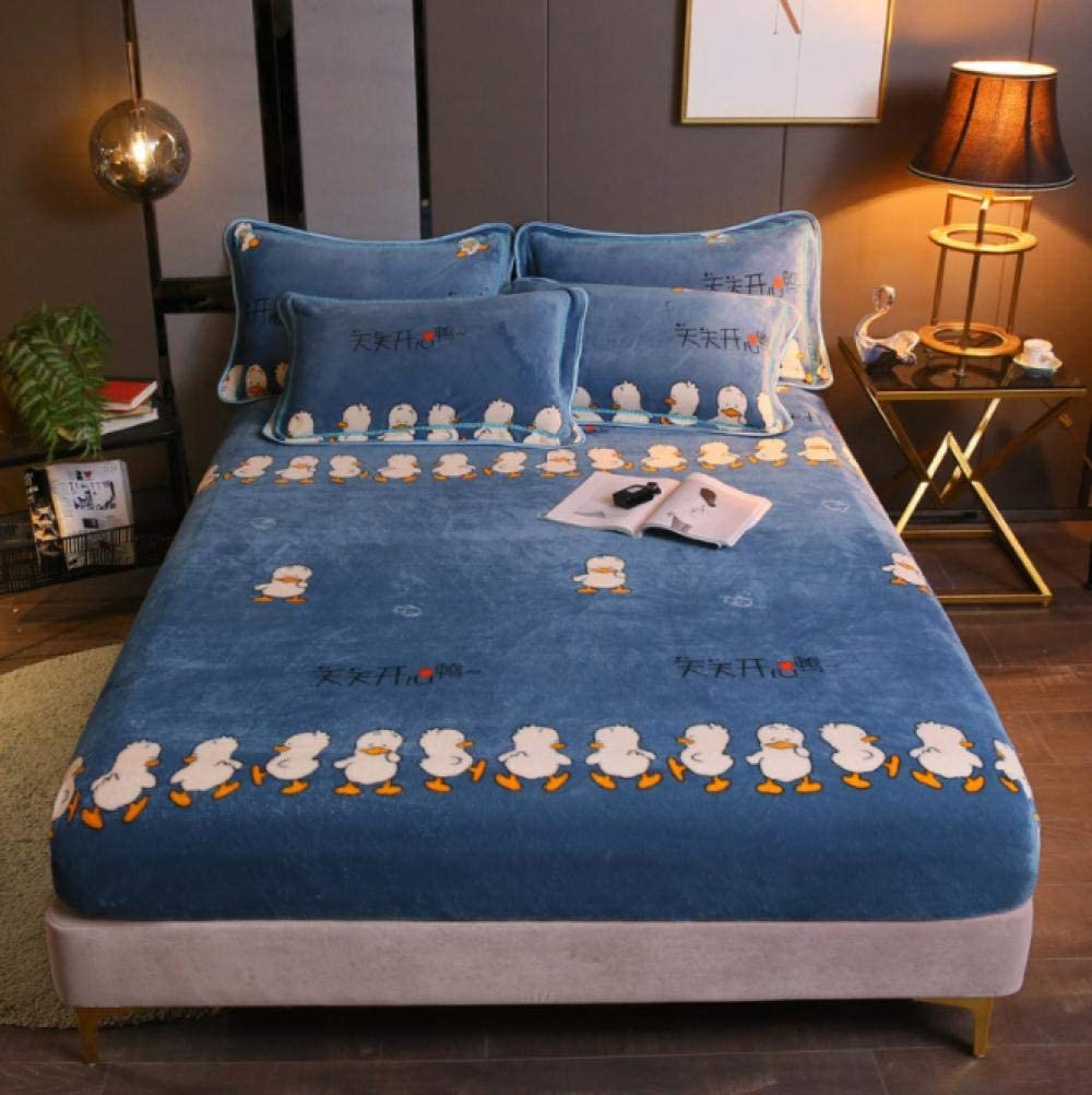 GSYHZL Queen Sheets Deep Cartoon Fitted Nippon regular Factory outlet agency Pocket,Flannel