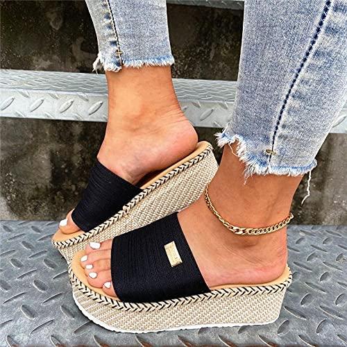 ypyrhh Zapatillas casa Hombre,Zapatillas de Boca de Verano Femeninas de Verano,Mayor Pendiente con Zapatos de Mujer-Negro_37,Sandalias Verano Antideslizante