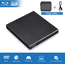 Blu Ray External 3D Drive, USB 3.0 & Type C Optical Blu Ray Portable Aluminum Slim Disk Player Burner Writer Reader for Windows XP/7/8/10, MacOS, Linux for MacBook, Laptop, Desktop (Black)