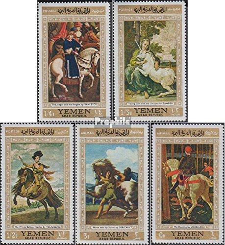 Prophila Collection Nordjemen (Arabische Rep.) 751-755 (kompl.Ausg.) 1968 Bekannte Gemälde mit Pferden (Briefmarken für Sammler) Malerei