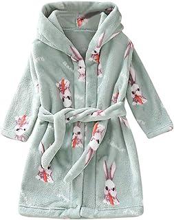 KAIXLIONLY Kids Robes,Flannel Bathrobe for Girls and Boys Shower Spa Bath Towel Hooded Sleepwear Night-Gown