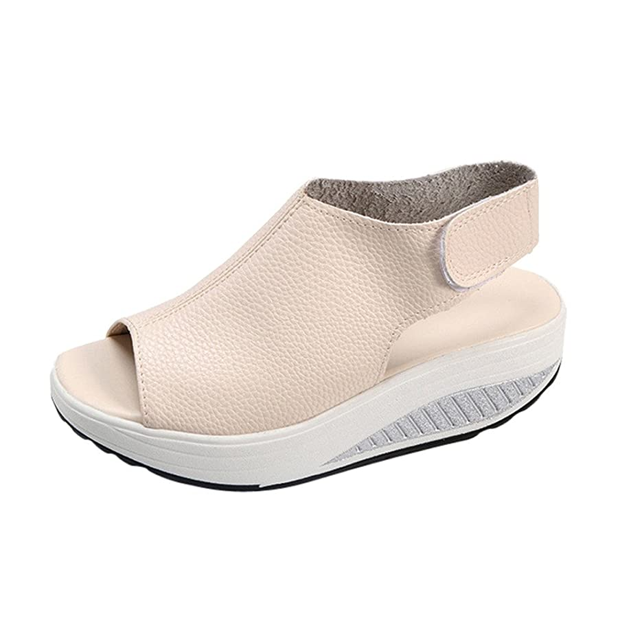 Respctful?Casual Summer Shoes for Women Open Toe Ankle Strap Espadrille Sandal Fashion Leather Platform Wedge Shoes