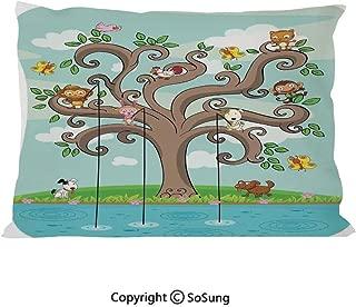 SoSung Kids Bed Pillow Case/Shams Set of 2,Tree of Life Cartoon Art Monkey Doggy Bunny Bee Kitten Roosterken Birds Fishing Print Decorative Queen Size Without Insert (2 Pack Pillowcase 30