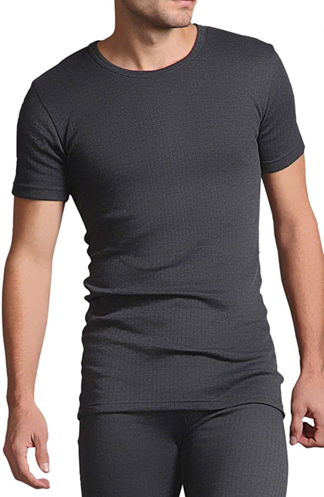 HEAT HOLDERS Mens Cotton Thermal Vest Short Sleeved Charcoal Large 41-43