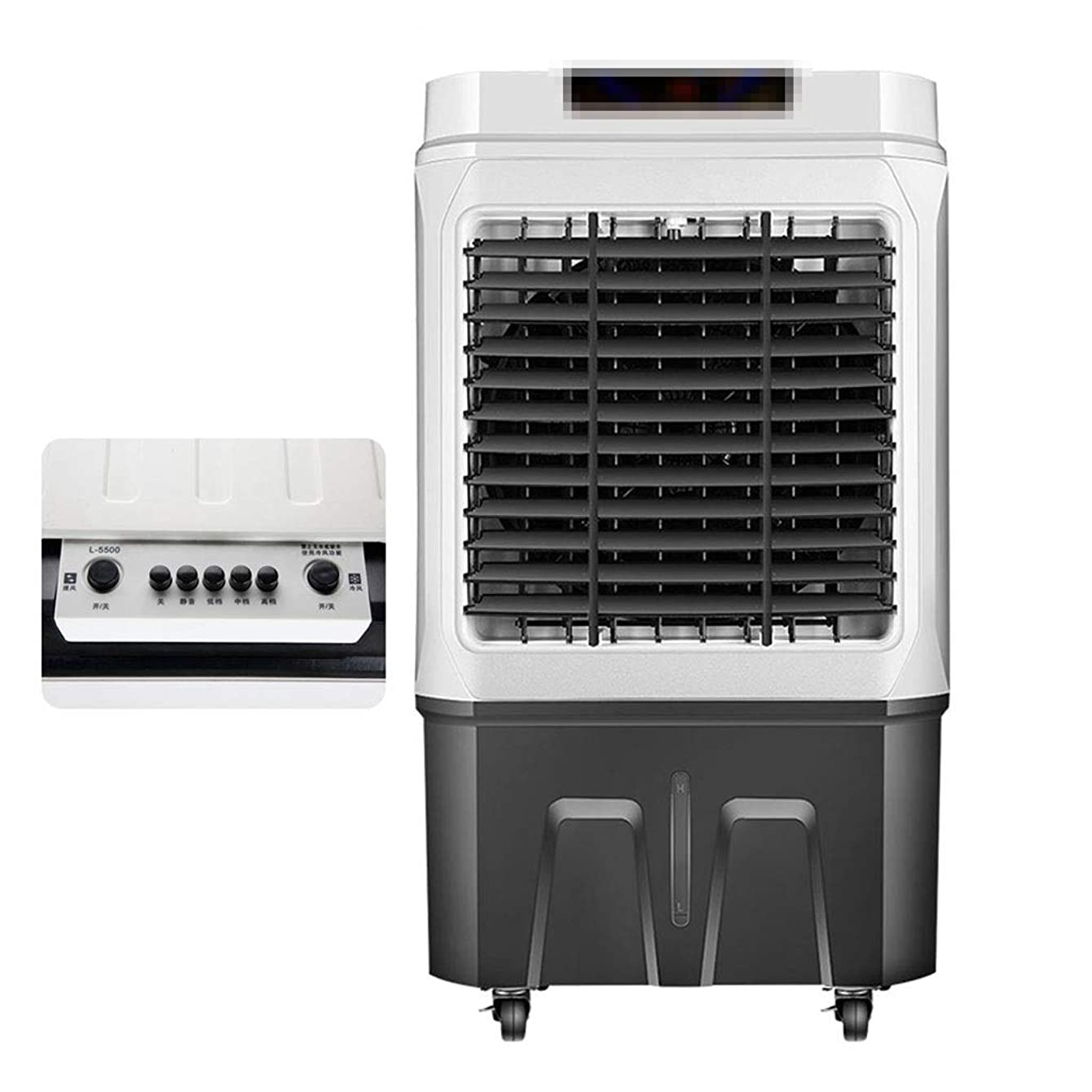 DLT Industrial Quiet Air Conditioner Fans with Whole House, 45L/12 Gal Waterbox, Evaporative Air Cooler Uses Water and Ice, 6000 Cubic Metre/H, 4 Speeds, White, Gray