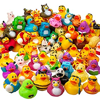 Kicko Assorted Rubber Ducks - 2 Inches - for Kids Sensory Play Stress Relief Novelty Stocking Stuffers Classroom Prizes Decorations Supplies Holidays Pinata Filler and Rewards  100 Pack