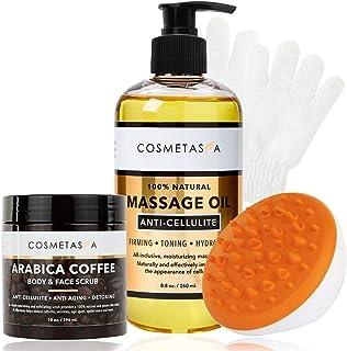 Anti-Cellulite Massage Oil, Coffee Scrub, Massager & Glove - Arabica Coffee Body & Face Scrub Exfoliating Glove & Mitt- Tone & Moisturize skin