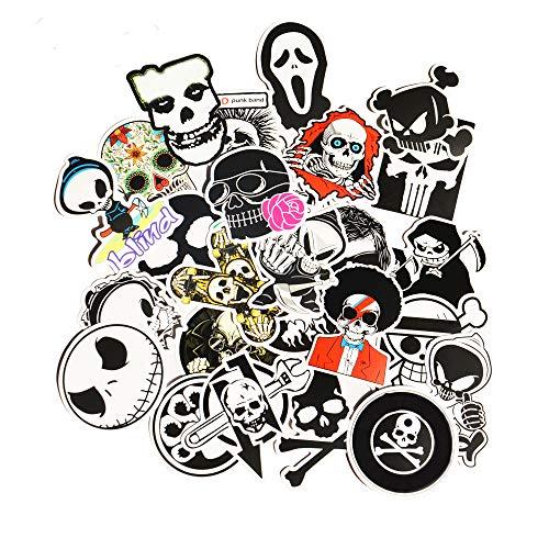 PMSMT 25 Piezas Esqueleto cráneo Diablo Dibujos Animados PVC Juguetes Seguros Pegatinas Frescas para niños niños Equipaje portátil Pegatina portátil Estilo de Coche