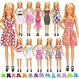 Miunana 12 Piezas Vestido Fashion Falda Mini Fiesta Ropas Casual + 10 Zapatos Accesorios para 11.5 Pulgadas 28 - 30 CM Muñeca