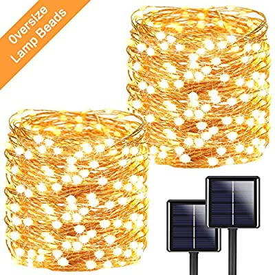 2-Pack Each 200 LED Solar String Lights Outdoor, Super Bright Solar Lights Outdoor (Upgraded Oversize Lamp Beads), Waterproof Copper Wire 8 Modes Fairy Lights for Garden Patio Yard Party (Warm White)