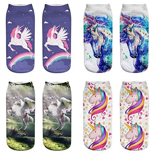 ERJO Women's Cotton Ankle Socks 3D Unicorn Flamingo Printed Halloween Low Cut No Show Socks Pack Set 4 PACK-Unicorn SC11