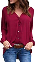 OMZIN Women's Chiffon Blouses Button Down Shirts V Neck Classic Tops and Tees