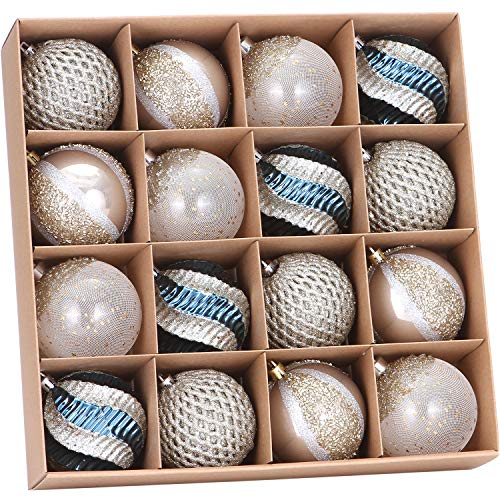 Sea Team 80mm/3.15' Delicate Contrast Color Theme Painting & Glittering Christmas Tree Pendants Decorative Hanging Christmas Baubles Balls Ornaments Set - 16 Pieces (Stone Blue & Silver Grey)