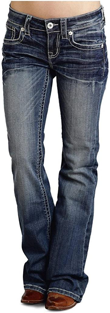 Stetson Women's 816 Fit White S Jeans Denim Bootcut 6 XL OFFicial mail order Challenge the lowest price Stitch