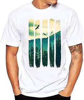 Hombre Camisa Hombre, Camisetas Casuales de impresión de Tallas Grandes Verano Camiseta de Manga Corta de algodón niños Tees Tops Blusa Deportivas Pollover