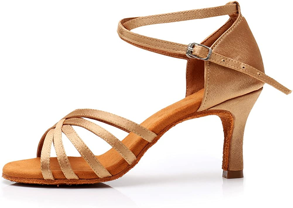YKXLM Women's Satin Professional Latin Dance Shoes Ballroom Wedd