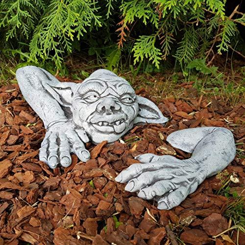Gartendeko Figur niedlicher Gargoyles Yoda Steinfigur frostfest Handmade klein Gartenfiguren Deko für außen Balkon Terassen Steinfigur Garten Gargoyles Figuren