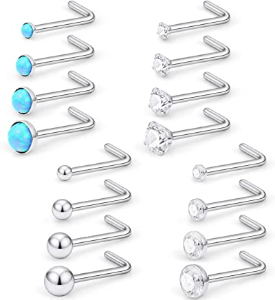 Lcolyoli 20G Surgical Steel 1.5mm-3mm Opal Ball Clear Diamond CZ Nose Stud Rings L Shaped Piercing Jewelry 16PCS for Women Men