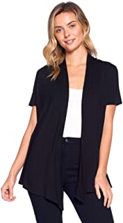 Basic Solid Short Sleeve Open Front Cardigan (S-3X) -...