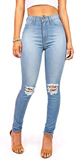 Women's Juniors Faded Ripped Knee High Waist Skinny Jeans